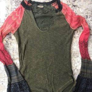 Free people crochet olive bell top xs